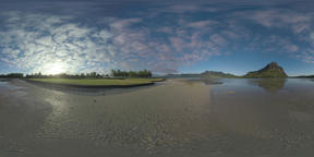 360 VR Timelapse of clouds sailing over Mauritius and carts driving on golf cour Filmmaterial