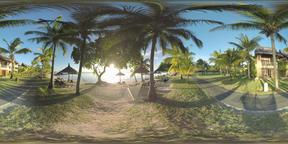 360 VR Sunset scene of tropical resort on ocean coast, Mauritius Archivo
