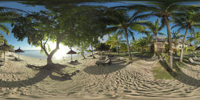 360 VR Coastline with resort area on tropical island, Mauritius Footage