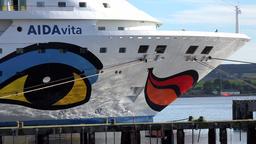 Great Britain Scotland Highland Invergordon AIDA vita cruise vessel face on prow Footage