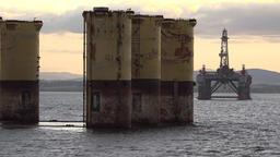 Great Britain Scotland Highland Invergordon pillars for oil rig plinth Footage