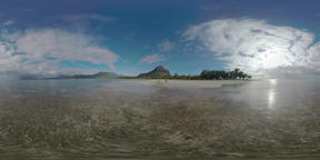 360 VR Mauritius landscape with ocean, coast and mountains. Family on the beach Footage