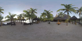 360 VR Le Morne Brabant resort area with palms and gazebos, Mauritius Footage