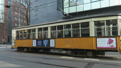 Milan, Italy old tram on the streets of Milano Footage