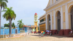 Cuba Tourism: Zoom In to Trinidad Old Colonial Spanish Church Tower Footage