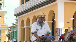 Cuba Tourism: Real People in Trinidad de Cuba, Senior Riding a Horse Drawn Carri Filmmaterial
