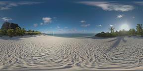 360 VR Ocean beach with volleyball playground on tropical resort, Mauritius Footage