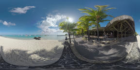 360 VR Summer scene with yachts in blue ocean, beach and restaurant on the coast Footage