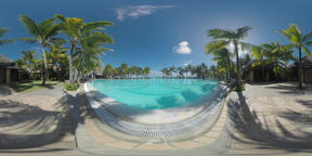 360 VR Scene of tropical resort with swimming pool and palms, Mauritius Footage