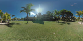360 VR Guest houses and couple walking in tropical garden on resort, Mauritius Footage