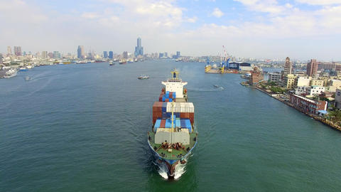 aerial view of container ship in Kaohsiung harbor. Taiwan Footage