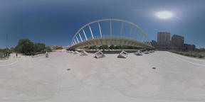 360 VR Valencia view with Turia Gardens, bridge and city buildings Footage