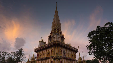 Wat chalong landmark of phuket with cloud movement and zoom out in 4K UHD Time l Footage