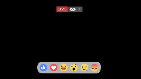 Viewer counter going up and mixed of reactions emoji button in streaming live vi Animation