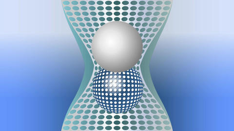 Metallic sphere moving up and down on abstract metallic area, business video bac Animation