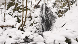 Snowy waterfall in winter forest. Basalt stones bellow waterfall covered by fres Footage