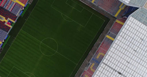 Flight over the playing field of the football stadium Footage