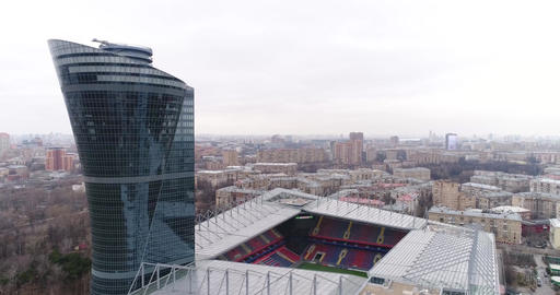 Stadium CSKA and building of glass ビデオ