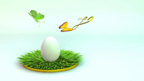 Easter egg on the grass. 3d rendering, animation Animation