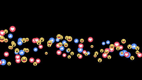 Facebook live reactions - Positives only reactions emoji in streaming live video Animation
