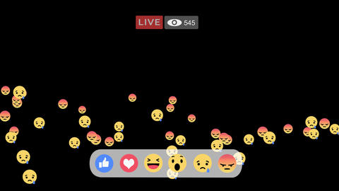 Sad & Angry reactions emoji in streaming live video Animation