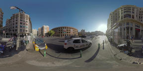 360 VR View to road traffic and city architecture with Bullring and The North St Footage