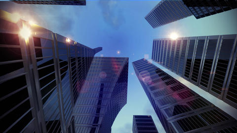 Sky scraper skyscraper city tall buildings dolly time lapse low angle 4K Footage