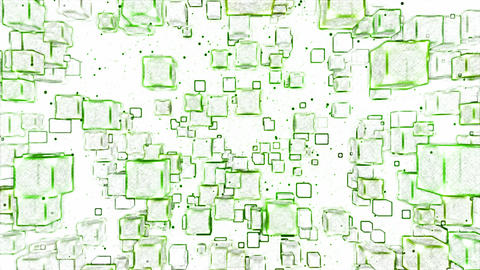 Abstract Moving Blocks Background - Loop Green Animation
