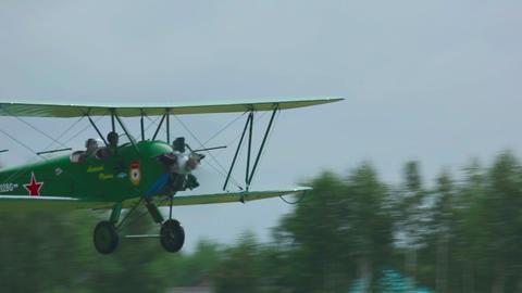 Vintage military biplane take-off Live Action