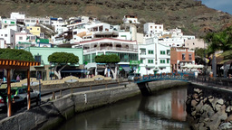 Spain Gran Canary Mogán 012 canal with a bridge Footage