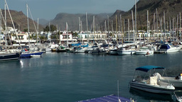 Spain Gran Canary Mogán 022 sailing boat marina and cityscape Footage