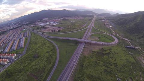 Aerial Highway Traffic 03 stock footage