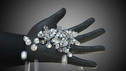 Sparkling diamonds and gems falling down in to gloved hand. Alpha matte Animation