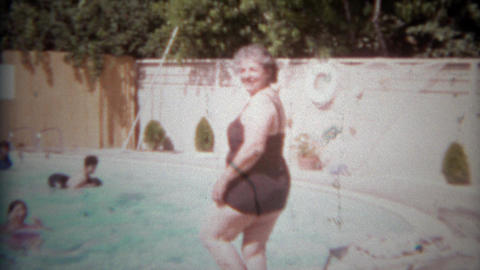 1967: Grandma ventures into the swimming pool for 1st time Footage