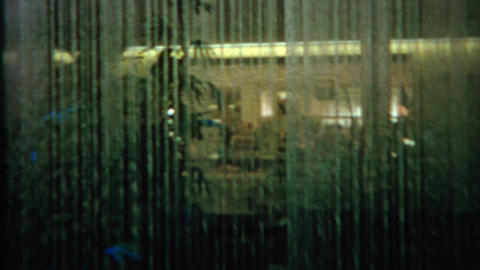 1967: Fancy hotel lobby rain waterfall effect display Footage