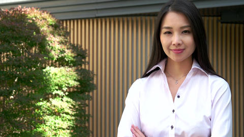 Attractive Lady Business Woman Businesswoman Smiling With Pride In Japan Footage