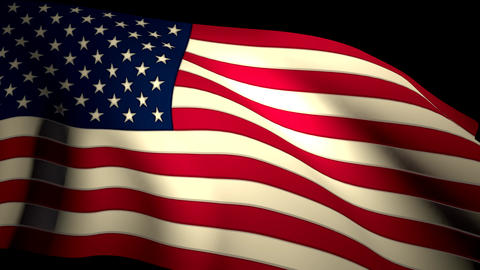 USA US American Flag Closeup Waving Backlit Seamless Loop CG 4K Footage