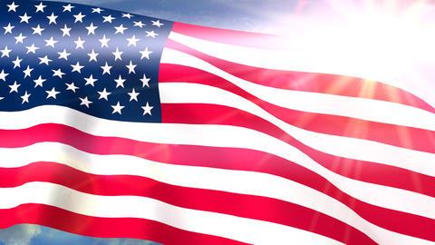 USA US Flags Closeup Waving Against Blue Sky CG Seamless Loop 4K Footage