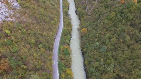 Aerial View Of Kayak Floating In Vrbas River Footage