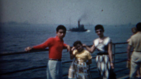 1961: Immigrant family on a boat to Ellis Island Footage