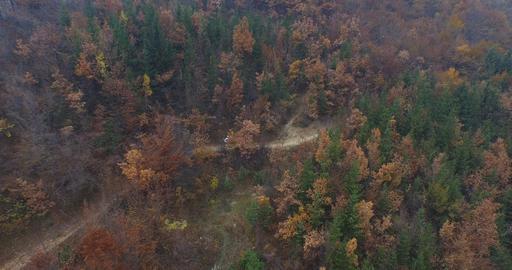Cross Country Biking, Aerial shot Footage
