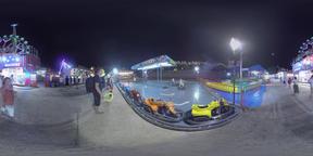 360 VR Night amusement park with people having fun, Valencia Footage