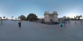 360 VR Valencia city view with Torres de Serranos in Old Town, Spain Footage