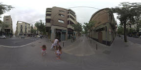 360 VR View to the street with road traffic and walking people, Barcelona Footage
