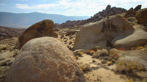 Rock formations of Alabama Hills in California Footage