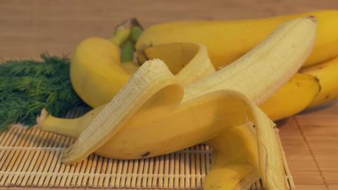 Fresh Banana on Table Footage