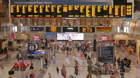 Liverpool Street station in London, UK with trail effects at night Footage