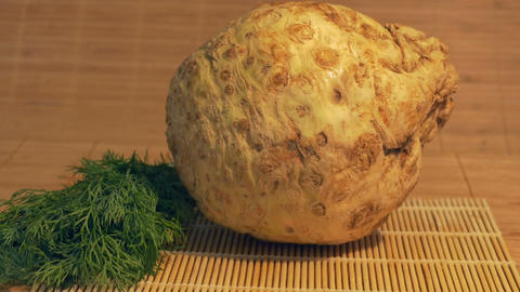 Fresh Celery Root on Table Footage