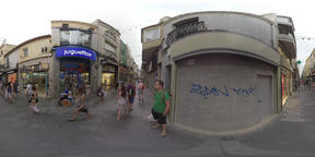 360 VR People walking in pedestrian street with stores in Barcelona, Spain Footage