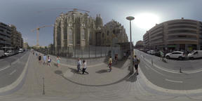 360 VR City view with street, Sagrada Familia and walking people, Barcelona Footage